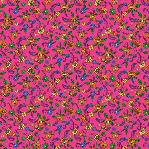 Nine Lives Flowers Pink by Northcott