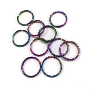"Split Rings 25mm (1"") / Iridescent Rainbow 10pk"