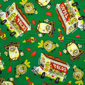 Hot Tamale Tossed Food Dark Green by Quilting Treasures