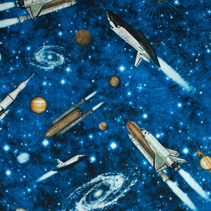 Intergalactic Space Ships Midnight by Quilting Treasures