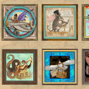 """Fantasy & Fiction Steampunk Patch 60cm (24"""") Fabric Panel Tan by Quilting Treasures"""