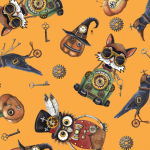 Steampunk Halloween Toss Gold by Quilting Treasures
