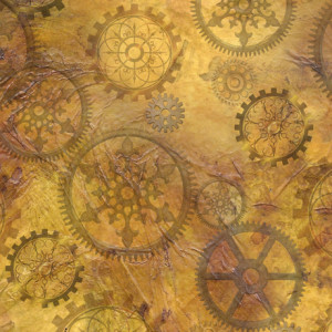 Steampunk Halloween Gears Antique Gold by Quilting Treasures