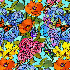 Stained Glass Garden Floral Multi by Quilting Treasures