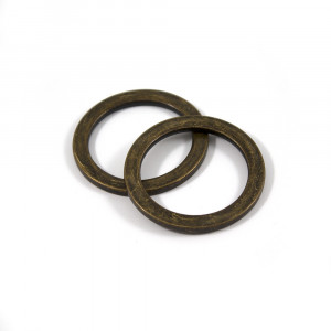 "Voodoo Bag Hardware Flat O-Rings 33mm (1-1/4"") Antique Brass - 2pk"
