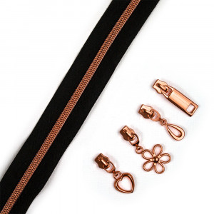 "Voodoo Bag Hardware (Size #5) Handbag Zipper Black Tape with Copper Teeth 3m (157"") with 12 pulls - Mix Pack"