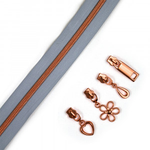 "Voodoo Bag Hardware (Size #5) Handbag Zipper Grey Tape with Copper Teeth 3m (157"") with 12 pulls - Mix Pack"