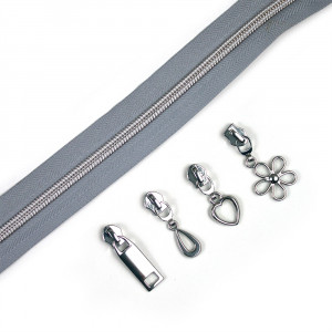 "Voodoo Bag Hardware (Size #5) Handbag Zipper Grey Tape with Silver Teeth 3m (157"") with 12 pulls - Mix Pack"