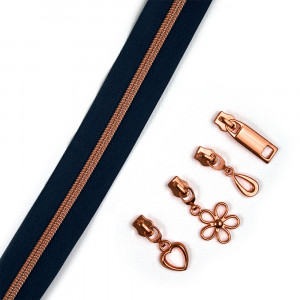 "Voodoo Bag Hardware (Size #5) Handbag Zipper Navy Blue Tape with Copper Teeth 3m (157"") with 12 pulls - Mix Pack"