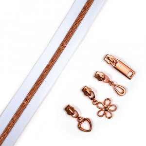 "Voodoo Bag Hardware (Size #5) Handbag Zipper White Tape with Copper Teeth 3m (157"") with 12 pulls - Mix Pack"