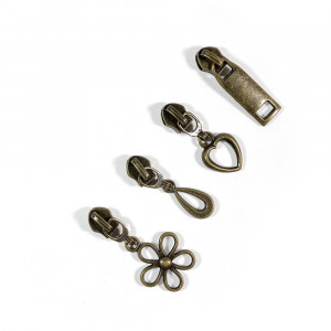 Voodoo Bag Hardware (size #5) Zipper Pulls Antique Brass