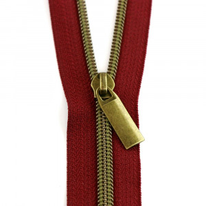 Sallie Tomato (Size #5) Zippers by the Yard Burgundy RedTape Antique Brass Teeth - 3yd (2.74m)
