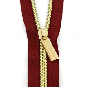 Sallie Tomato (Size #5) Zippers by the Yard Burgundy Red Tape Gold Teeth - 3yd (2.74m)