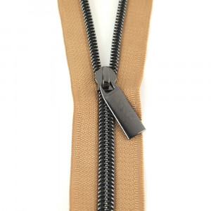 Sallie Tomato (Size #5) Zippers by the Yard Natural Tape Gunmetal Black Teeth - 3yd (2.74m)
