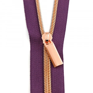 Sallie Tomato (Size #5) Zippers by the Yard Purple Tape Copper Teeth - 3yd (2.74m)