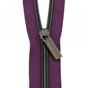 Sallie Tomato (Size #5) Zippers by the Yard Purple Tape Gunmetal Black Teeth - 3yd (2.74m)