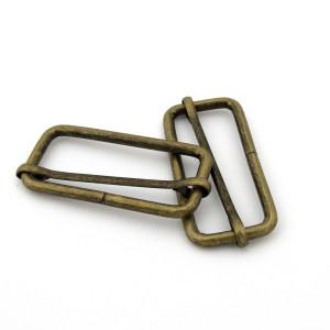 """Voodoo Bag Hardware Slide Adjusters 50mm (2"""") Antique Brass - 4pk"""