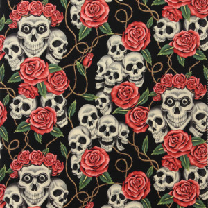 The Rose Tattoo (Skulls and Roses) Black Tea by Alexander Henry Fabrics