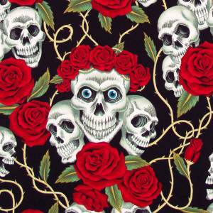 The Rose Tattoo (Skulls and Roses) Black Bright by Alexander Henry Fabrics