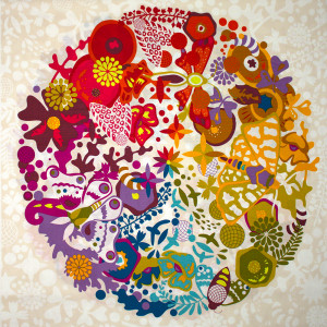 """Alison Glass Art Theory Grand Circle 61cm (24"""") Fabric Panel White by Andover"""