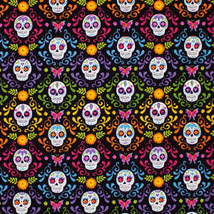 Day of the Dead Mariposas Night Black by Andover Fabrics