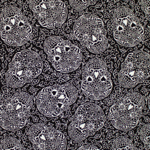 Day of the Dead Sugar Skulls Licorice by Andover Fabrics