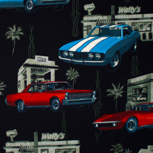 Muscle Car Diner Black by Hoffman Fabric