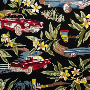 Classic Car Hawaiian Floral Black by Hoffman Fabric
