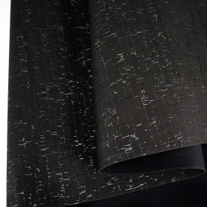 "Portuguese Natural Cork BLACK with Silver Flecks - Sizing from 70cm x 50cm (27-1/2"" x 19-1/2"")"