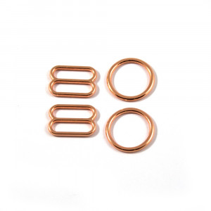 Bra Strap Adjustment Sliders and Rings 12mm (1/2inch) Copper (Rose Gold)