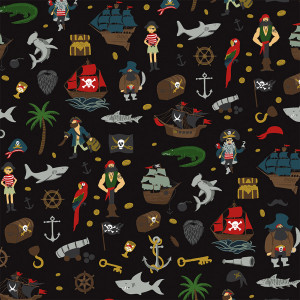 Pirate Tales Scatter Black by Riley Blake Designs