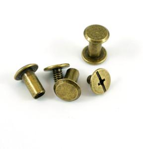 "Emmaline Bags Chicago Screws Large 10mm x 10mm (3/8"" x 3/8"") in Antique Brass - 50pk"