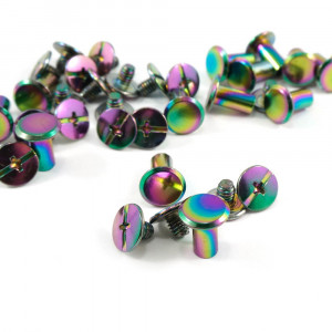 "Emmaline Bags Chicago Screws Large 10mm x 10mm (3/8"" x 3/8"") in Iridescent Rainbow - 20pk"