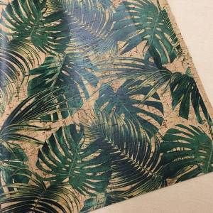 """Portuguese Natural Printed Cork Jungle Leaves - Sizing from 70cm x 50cm (27-1/2"""" x 19-1/2"""")"""