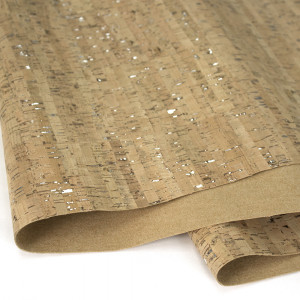 "Portuguese Natural Cork Fabric with Silver Flecks - Sizing from 70cm x 50cm (27-1/2"" x 19-1/2"")"