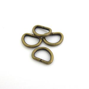 """D-Ring 12mm (1/2"""") Antique Brass - 4pk"""