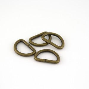 """Voodoo Bag Hardware D-Ring 20mm (3/4"""") Antique - 4pk"""
