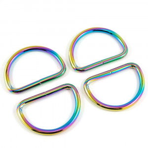 "Emmaline Bags D-Ring 40mm (1-1/2"") Iridescent Rainbow - 4pk"