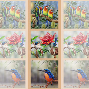 "Wildlife Art 41.5cm (16-3/4"") Tri-Panel Birds and Warratah by Devonstone Collection"