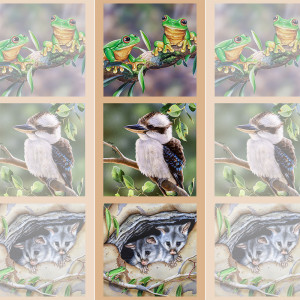 "Wildlife Art 41.5cm (16-3/4"") Tri-Panel Frogs, Kookaburra and Possums by Devonstone Collection"