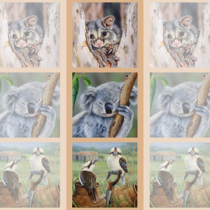 "Wildlife Art 41.5cm (16-3/4"") Tri-Panel Possum, Koala & Kookaburras by Devonstone Collection"