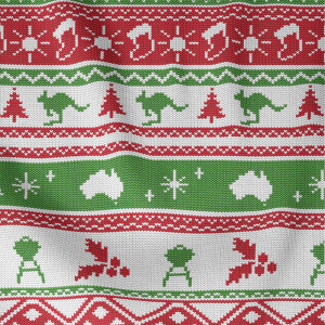 Aussie Friends Festive Fun Knitted Sweater Green/Red by Devonstone Collection
