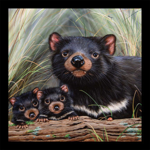 "Natalie Jane Parker Wildlife Art 5 40.5cm (16"") Tri-Panel Koala, Tassie Devils and Kangaroos by Devonstone Collection"