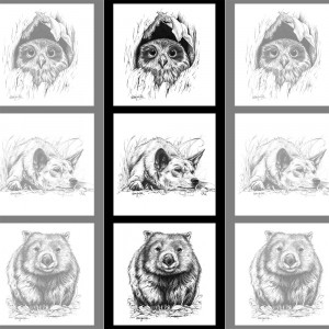 """Natalie Jane Parker Collection 40cm (15-3/4"""") Tri Fabric Panel Owl, Dingo and Wombat Sketches by Devonstone"""
