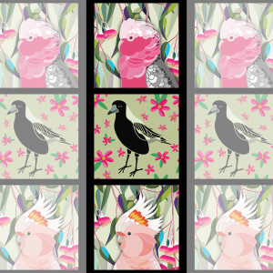 "Orenda Joy Green Collection 40.5cm (15.5"") Tri-Panel Galah, Magpie & Cockatoo by Devonstone Collection"