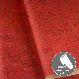 "Portuguese Cork Fabric 70cm (27.5"") wide Surface Red"