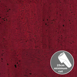 "Portuguese Cork Fabric 70cm (27.5"") wide Surface Wine Red"