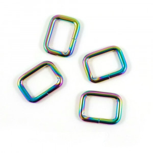 "Emmaline Bags Rectangular Rings 20mm (3/4"") Iridescent Rainbow - 4pk"