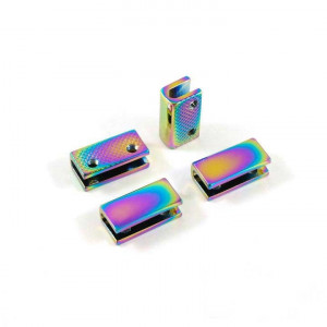 "Emmaline Bags Strap End Cap Rectangular 20mm (3/4"") Iridescent Rainbow - 4pk"
