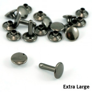 Emmaline Bags Metal Double-Capped Rivets Gunmetal Extra Large Size 9mm x 12mm - 50pk